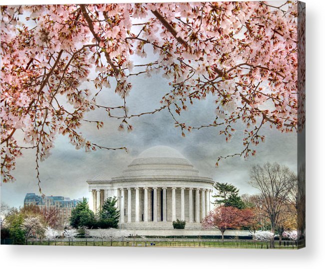 Jefferson Memorial Acrylic Print featuring the photograph Jefferson Blossoms by Lori Deiter