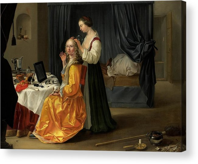 Lady Acrylic Print featuring the painting Lady At Her Toilet by Netherlandish School
