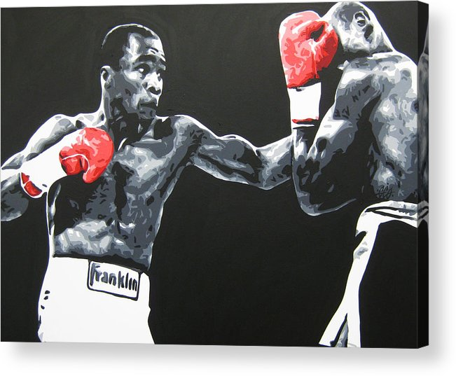 Leonard Acrylic Print featuring the painting Leonard Vs Hagler by Geo Thomson