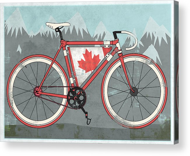 Canada Acrylic Print featuring the digital art Love Canada Bike by Andy Scullion