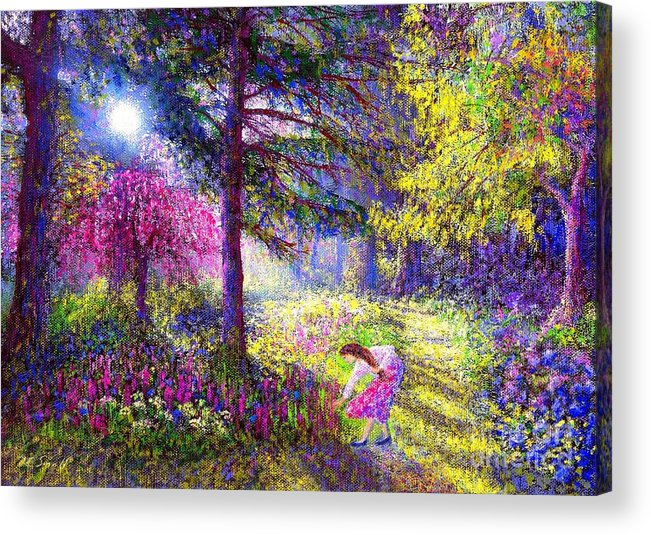 Woodland Acrylic Print featuring the painting Morning Dew by Jane Small