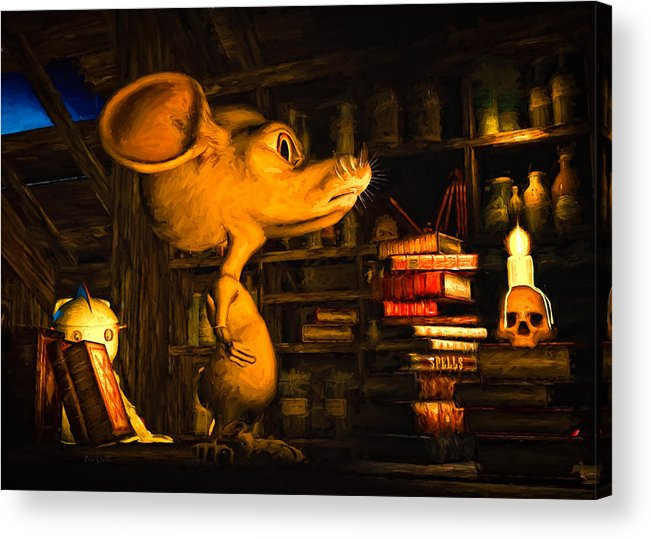 Attic Acrylic Print featuring the painting Mouse In The Attic by Bob Orsillo