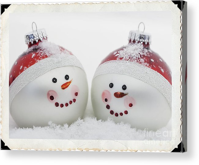 Celebrate Acrylic Print featuring the photograph Mr. And Mrs. Snowman by Linda D Lester