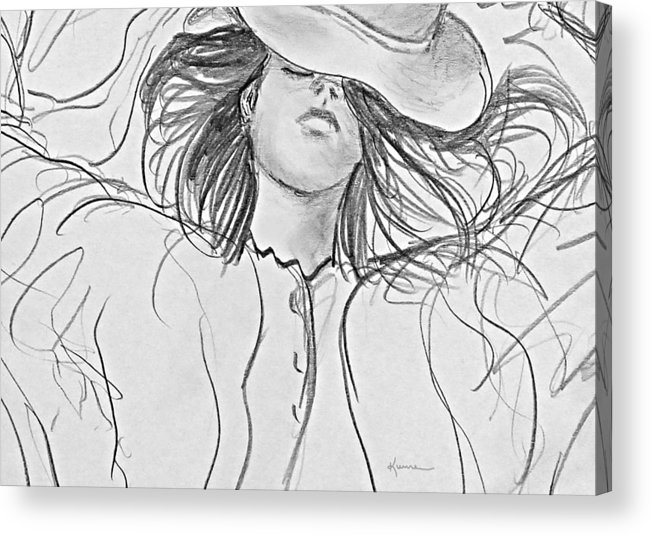 Woman Acrylic Print featuring the drawing No Worries by Kume Bryant
