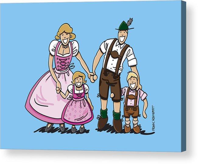 Frank Ramspott Acrylic Print featuring the digital art Oktoberfest Family Dirndl And Lederhosen by Frank Ramspott