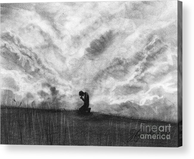 Prayers Acrylic Print featuring the drawing Our Prayers by J Ferwerda