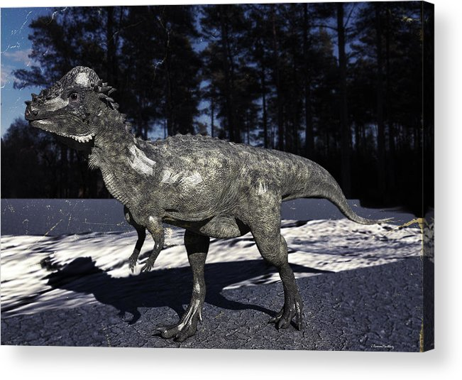 Dinosaurus Acrylic Print featuring the digital art Pachycephalosaurus by Ramon Martinez
