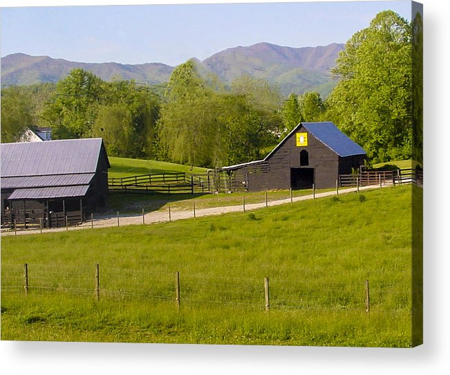 Blue Acrylic Print featuring the photograph Painted Barn Quilt Two And A Half by Robert J Andler