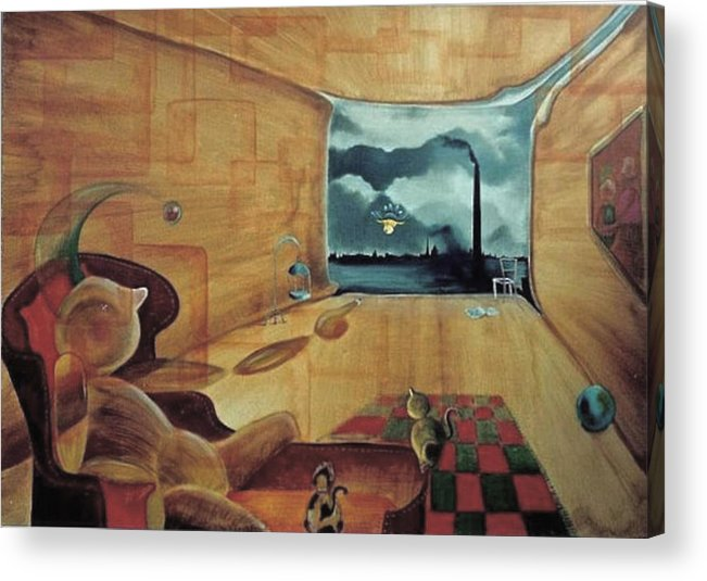 Fantasy Acrylic Print featuring the painting Pollution by Blima Efraim