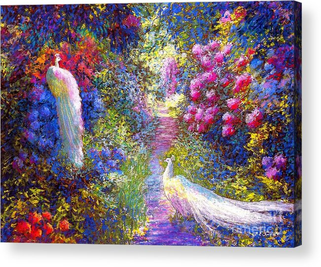 Sun Acrylic Print featuring the painting White Peacocks, Pure Bliss by Jane Small