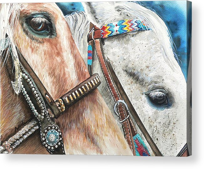 Horse Acrylic Print featuring the painting Roping Horses by Nadi Spencer