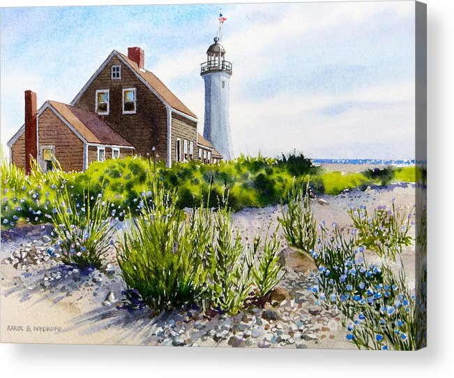 Clouds Acrylic Print featuring the painting Scituate Light By Day by Karol Wyckoff