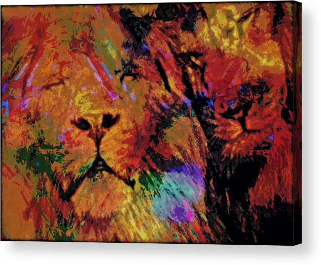 Big Cat Acrylic Print featuring the mixed media Sharing The Dream by Wendie Busig-Kohn