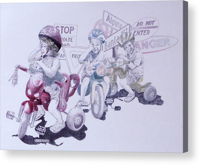 Children Bicycles Kids Portraits Acrylic Print featuring the painting Signsofconfusion by Tony Ruggiero