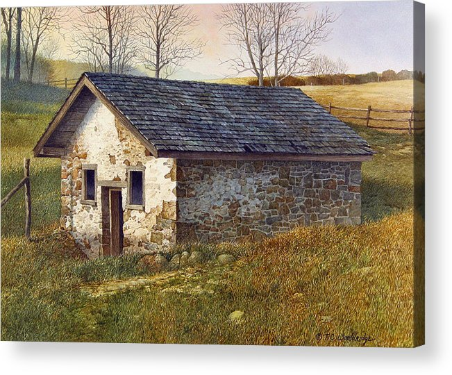 Landscape Acrylic Print featuring the painting Springhouse by Tom Wooldridge