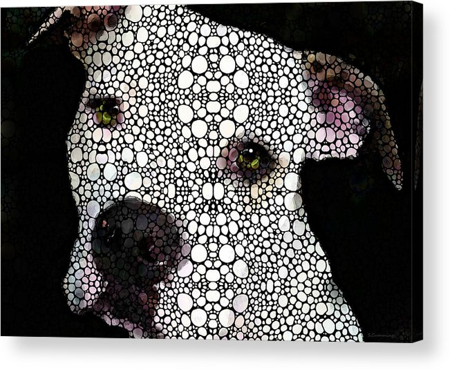 Dog Acrylic Print featuring the painting Stone Rock'd Dog By Sharon Cummings by Sharon Cummings