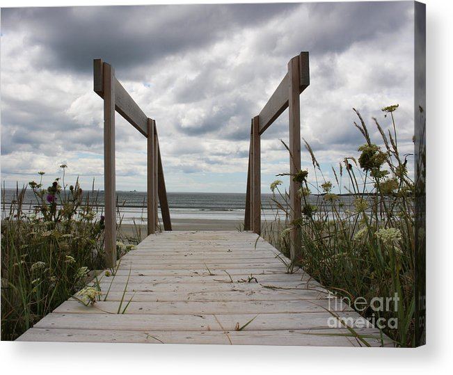 Boardwalk Acrylic Print featuring the photograph Stormy Day - Boardwalk To The Sea by Cheryl Aguiar