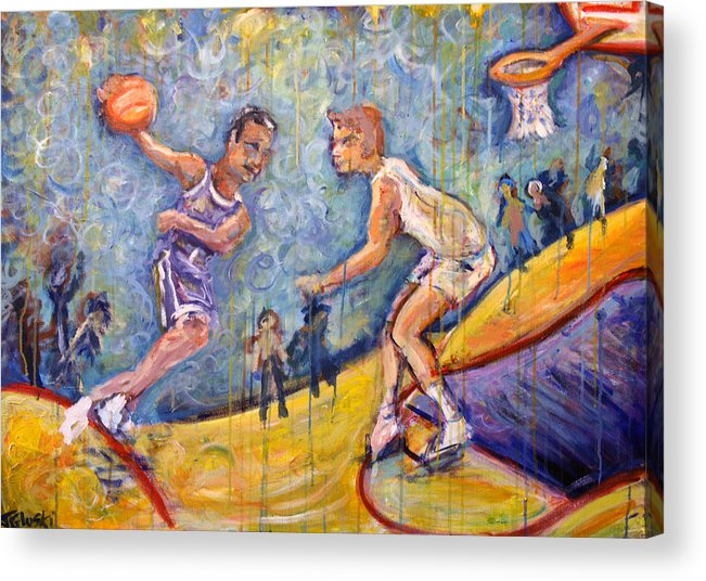Basketball Acrylic Print featuring the painting The B-ball Game by Jason Gluskin