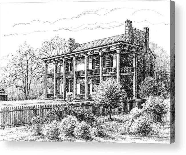 Carnton Plantation Acrylic Print featuring the drawing The Carnton Plantation In Franklin Tennessee by Janet King