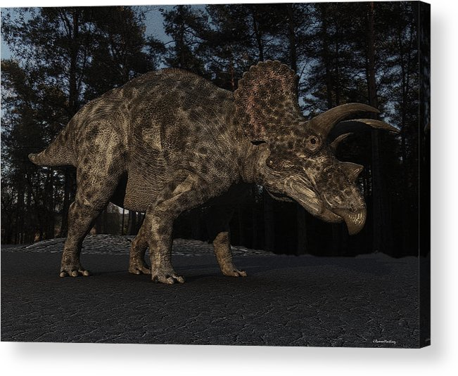 Triceratops Acrylic Print featuring the digital art Triceratops by Ramon Martinez