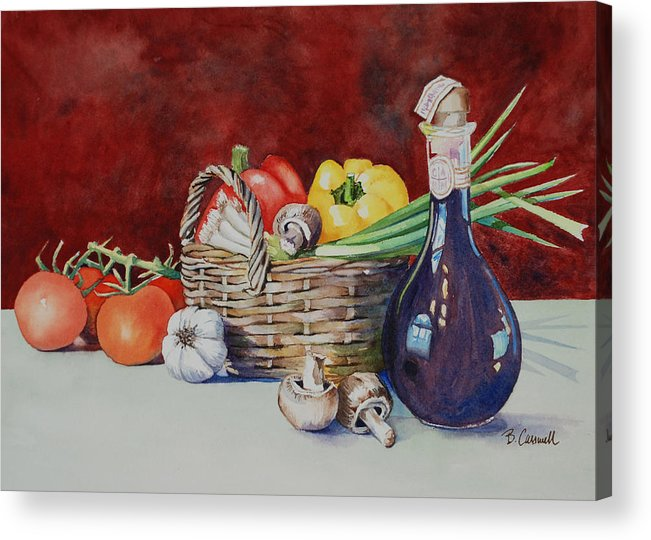 Still Life Acrylic Print featuring the painting Vegetable Basket With Wine Vinegar by Barbara Carswell