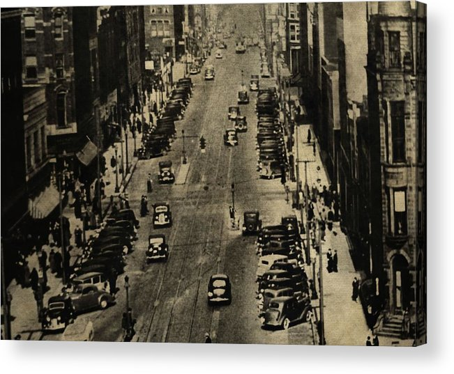 Vintage Downtown View Acrylic Print featuring the photograph Vintage Downtown View by Dan Sproul