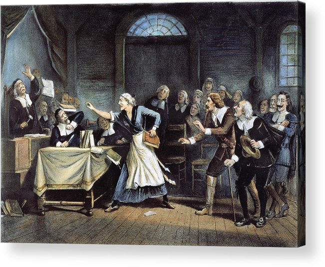 1692 Acrylic Print featuring the painting Witch Trial by Granger