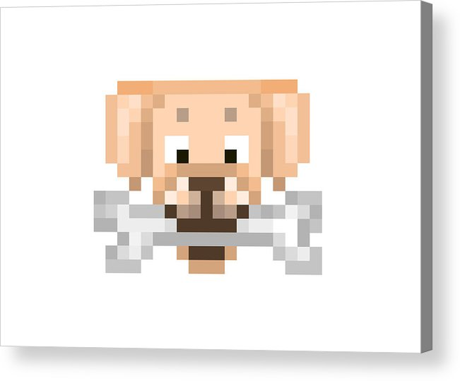 Yellow Labrador Retriever With A Bone, Pixel Art Character Head Icon  Isolated On White Background  Pet Emoji  Old School 8 Bit Slot Machine  Pictogram