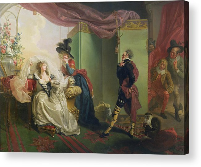 Malvolio Acrylic Print featuring the painting Malvolio Before Olivia - From 'twelfth Night' by Johann Heinrich Ramberg