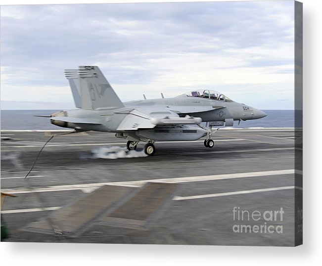 Ea-18g Growler Acrylic Print featuring the photograph An Ea-18g Growler Makes An Arrested by Stocktrek Images