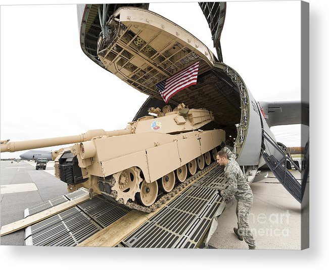Tank Acrylic Print featuring the photograph Airmen Load A Tank Into A C-5m Super by Stocktrek Images