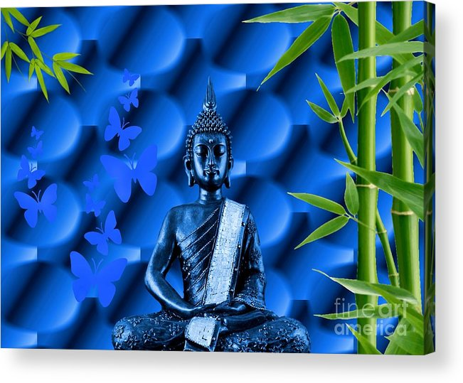 Blue Acrylic Print featuring the photograph Blue Buddha by Sandra Beikirch