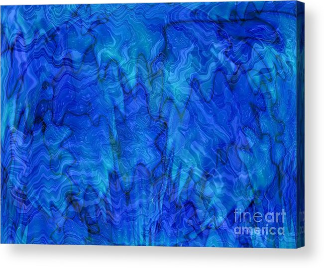 Blue Acrylic Print featuring the photograph Blue Glass - Abstract Art by Carol Groenen