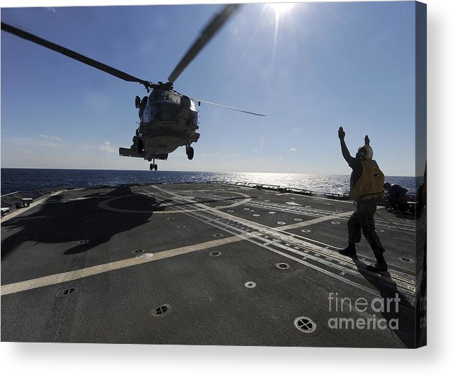 Helicopter Acrylic Print featuring the photograph Boatswains Mate Signals The Pilots by Stocktrek Images
