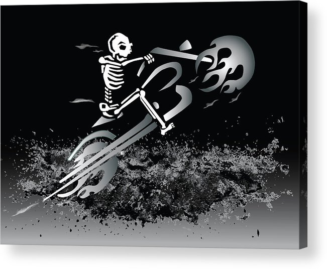 Bike Acrylic Print featuring the digital art Bone Ride by Kim French