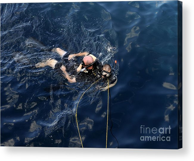 Diving Mask Acrylic Print featuring the photograph Damage Controlman Performs Training by Stocktrek Images