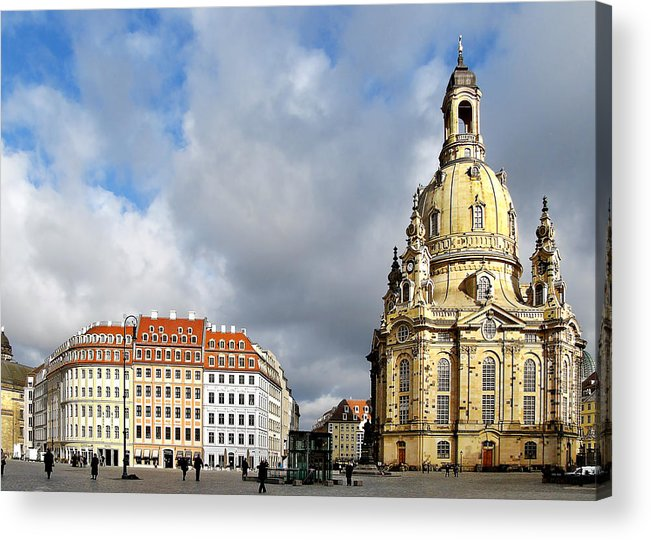 Temples Acrylic Print featuring the photograph Dresden Church Of Our Lady And New Market by Christine Till
