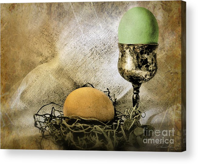 Eggshell And Green Easter Eggs Acrylic Print featuring the photograph Easter With Patina 2 by Danuta Bennett