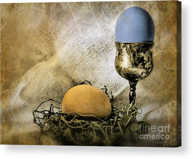 Eggshell And Blue Easter Eggs Acrylic Print featuring the photograph Easter With Patina 3 by Danuta Bennett