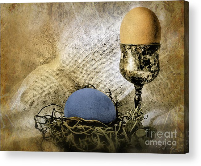 Eggshell And Blue Easter Eggs Acrylic Print featuring the photograph Easter With Patina 5 by Danuta Bennett