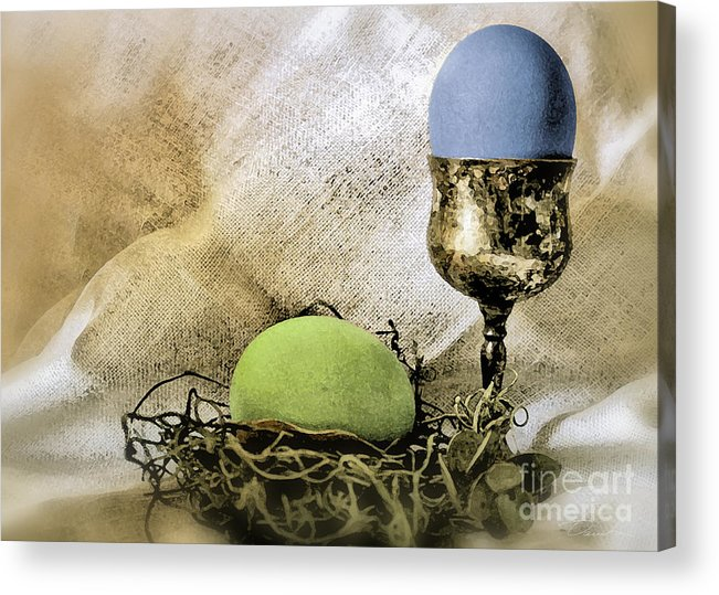 Green And Blue Easter Eggs Acrylic Print featuring the photograph Easter With Patina 6 by Danuta Bennett