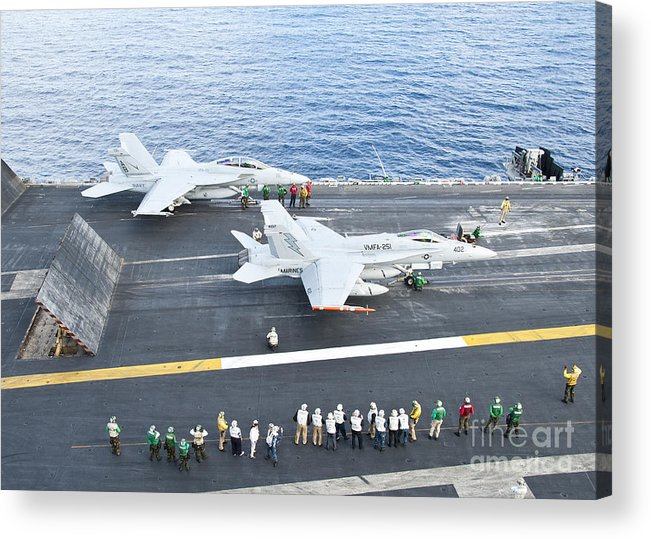 F-18 Super Hornet Acrylic Print featuring the photograph Fa-18 Aircraft Prepare To Take by Stocktrek Images