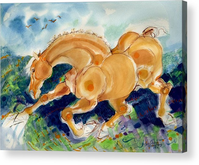 Mary Ogden Armstrong Acrylic Print featuring the painting Golden Stride by Mary Armstrong