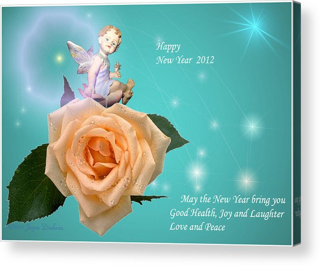 new year acrylic print featuring the photograph happy new year cherub and peach rose by joyce
