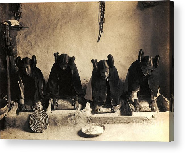 Pd Acrylic Print featuring the photograph Hopi Girls Grinding Corn by Pg Reproductions
