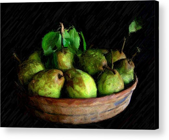 Pears Acrylic Print featuring the digital art Last Of The Pears by Carrie OBrien Sibley