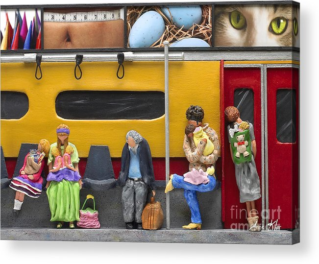 Subway Acrylic Print featuring the sculpture Lonely Travelers - Crop Of Original - To See Complete Artwork Click View All by Anne Klar