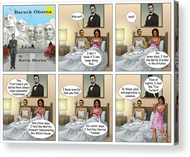 Barack Obama Acrylic Print featuring the digital art Michelle's Crisis by Kevin Marley