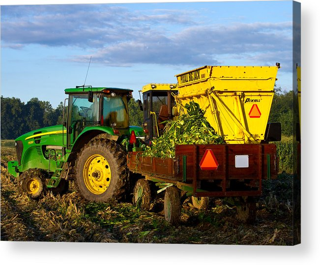 John Deere Acrylic Print featuring the photograph Morning Harvest by Tim Fitzwater