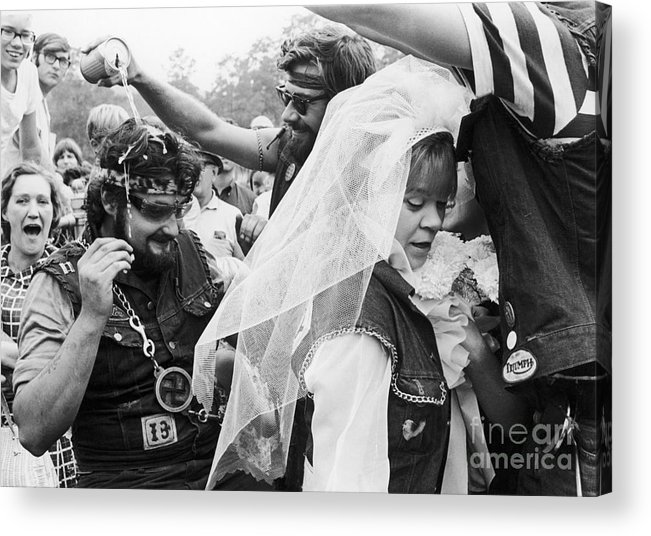 1969 Acrylic Print featuring the photograph Motorcycle Club Wedding by Granger